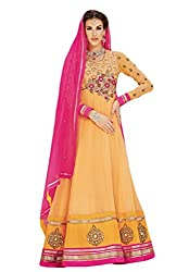 Nirali Womens Georgette Dress Material (Kimora 909 Meera -Orange -Free Size)