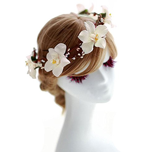 Love Sweety Bride Flower Crown with Adjustable Ribbon for Wedding HH8 (White)