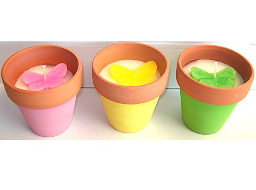 3 x Butterfly Decorative 10cm Citronella Garden Pot Candle Butterfly Flower Pink Green Yellow (Butterfly)