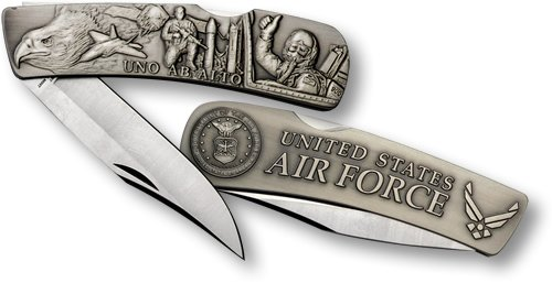 Air Force Lockback Knife - Large Nickel Antique
