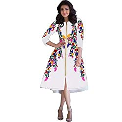 INDIA FASHION SHOP WHITE MULTI COLORED PRINTED GEORGETTE KURTI
