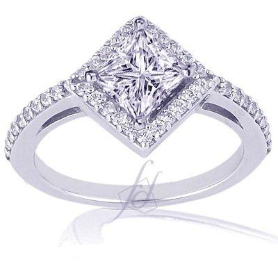 Princess  Wedding Rings on Ct Princess Cut Halo Diamond Engagement Kite Ring Vs1 I Color Cut