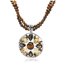 "Amazon.com: Sterling Silver, Tiger-Eye, Smoky Quartz and Citrine Pendant by David Sigal, 20"": Jewelry from amazon.com"