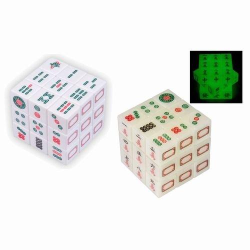 絵柄麻雀キューブパズル/白タイプ&夜光半透明タイプ 2個セット