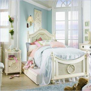Cheap Lea Emma's Treasures Kids Wood Poster Bed 3 Piece Bedroom Set in Vintage White (606-POSTB-PKG)