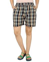 TeeMoods Cotton Checkered Nightwear Womens Regular Fit Shorts