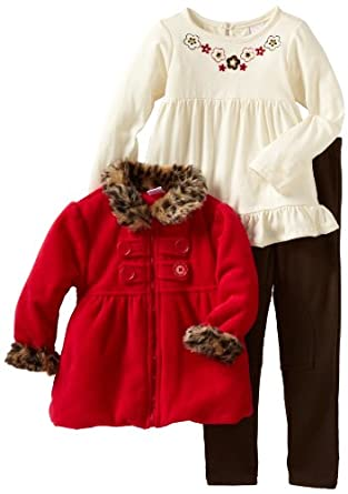 Nannette Girls 2-6X Leopard Trimmed 3 Piece Jacket Set, Red, 6