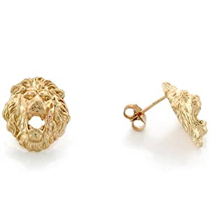 14k Yellow Gold 1.2cm Lion Head with Open Mouth Pin Earrings