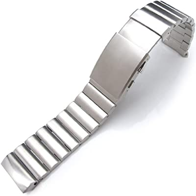 24mm Bandoleer Soild Links 316L Stainless Steel Replacement band for Panerai 44mm, PAM111, PAM104, PAM000