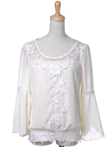 Anna kaci s m fit white chiffon and organza crochet lace front drop