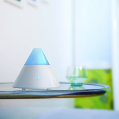 ZAQ Noor Essential Oil Diffuser LiteMist Ultrasonic Aromatherapy With Ionizer and Color-Changing Light - 80 ML Capacity, White