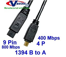 Vaster SKU -20072-16, Fiwire Cable, 1394b 800 to 400 Mbps Firewire Bilinggual Cable (9 Pin to 4 Pin) 13 Ft