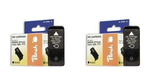 Peach E680/E777 bk Doppelpack Tintenpatronen kompatibel zu Epson T017, schwarz