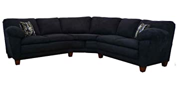 Amanda 2-Pc Sectional Sofa in Bulldozer Black Fabric