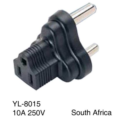 SF Cable, 3 Prong Plug Adapter, South Africa/India to NEMA 5-15R USA (BS546/SABS164)