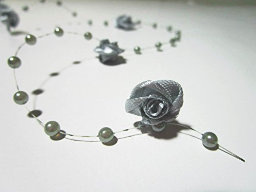 10m perles guirlande de roses: Argente
