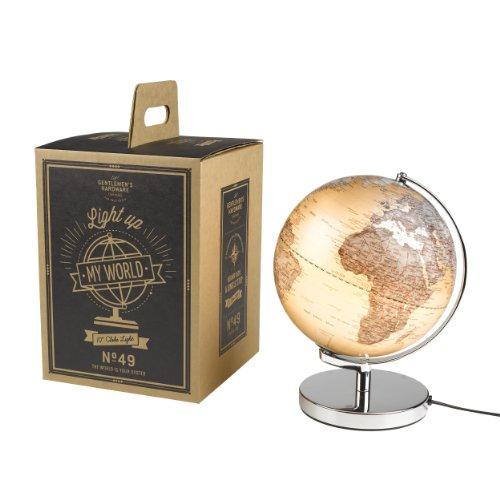 Gentlemens Hardware Leuchtglobus, mit Geschenkkarton, warmes Licht, 25 cm Ø x 34 cm H, 25 Watt