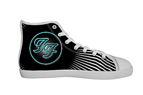 Rock Band Foo Fighter Men's Canvas Shoes Men White High Top Canvas Shoes-12M US