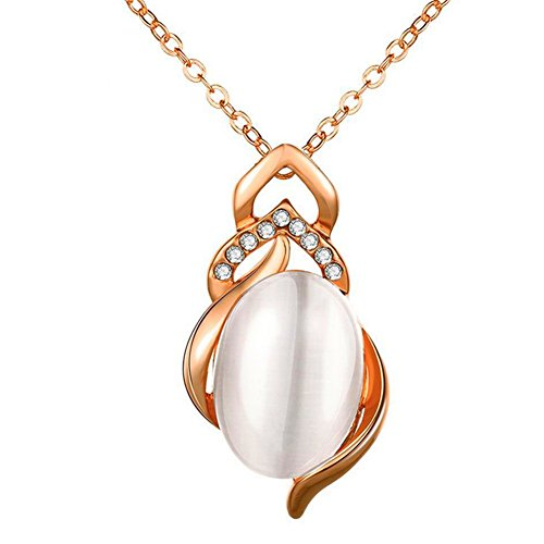 [FLANCO Womens Silver Opal Pendant Jewels Wavy Gold Platinum Rose Gold Necklace Fashion] (Wavy Guy Costume)