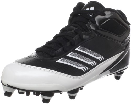adidas Men's Scorch X Mid D Football Cleat,Black/White/Metallic Silver,16 M US