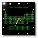 3dRose dpp_76646_1 Neon Green on Black Periodic Table Retro Computer Programmer Style Science Chemistry Physics Wall Clock, 10 by 10-Inch