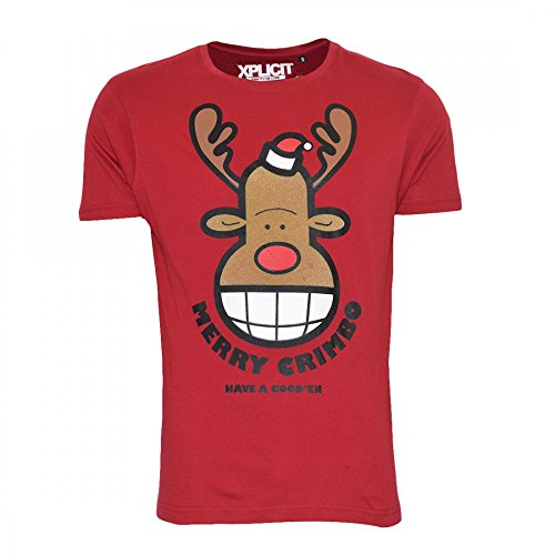 Xplicit Industries Xplicit Mens Novelty Christmas T Shirt Tee Top Short Sleeved Rudloph Red Nose Reindeer Large Red-Xmas Funny Rudolf Goofy Jumper Tee Style product image