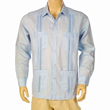 Guayabera Linen, size medium & light blue.