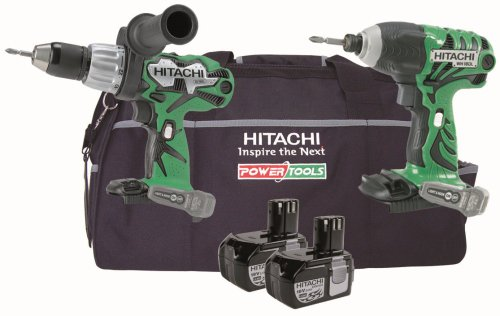 Hitachi KTL218C 2 Piece Cordless Tool Kit (18 V, 2 x Li-Ion Batteries  &  Bag)