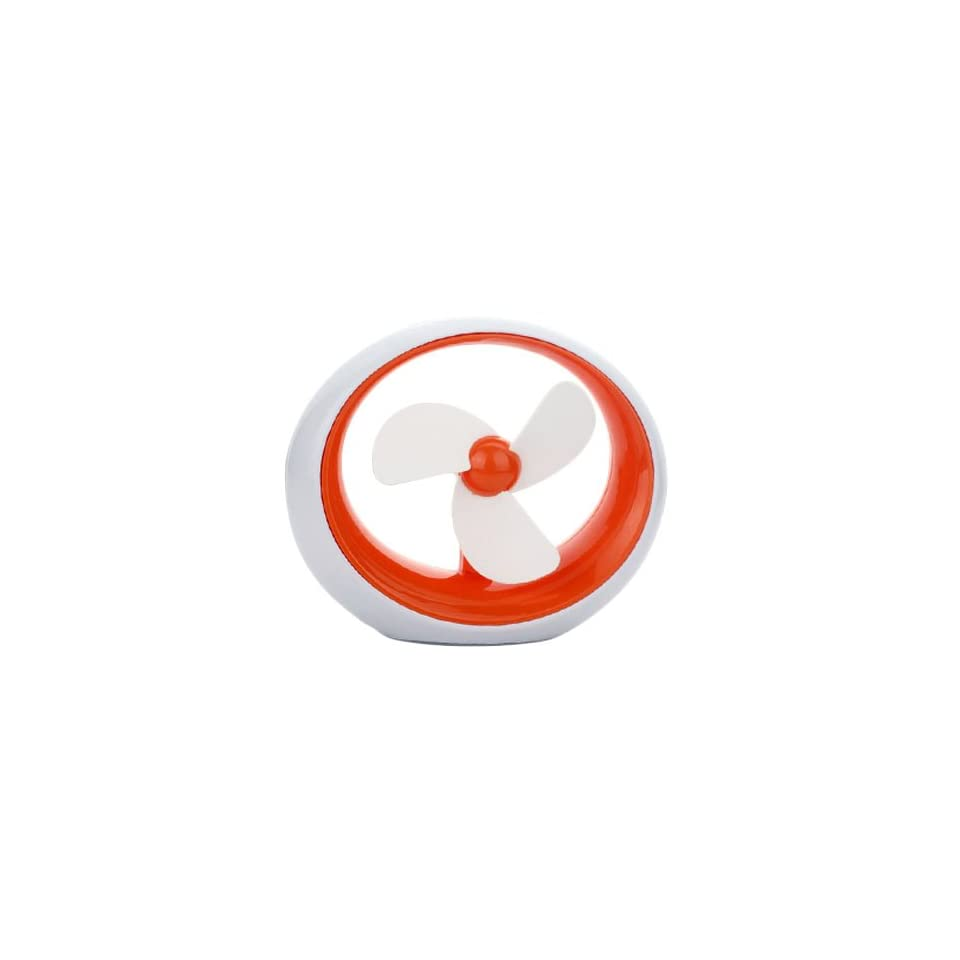 Orange Soft Blades Usb Small Cooling Fan With Smooth Circular Design Usb Or Battery Powered Personal Desk Fan