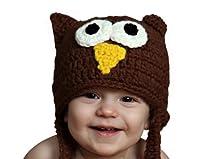 Melondipity Boys Dark Brown Owl Crochet Baby Hat - Cute Animal Knit Beanie (12 - 24 Months)
