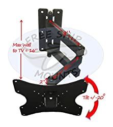 ARTICULATING CORNER TILT ARM SWIVEL LCD LED TV WALL MOUNT 23 24 26 30 32 36 37