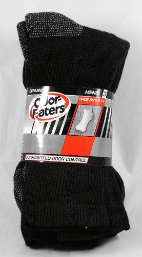3 Pack Odor-Eaters Mens Crew Socks Black Shoe Size 6-12