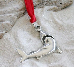 Pewter Shark Great White Christmas Ornament and Holiday