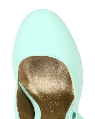 Qupid BK98 Women Nubuck Bow Decor Platform Glossy Stiletto Heel Pump - Menthol (Size: 7.5)