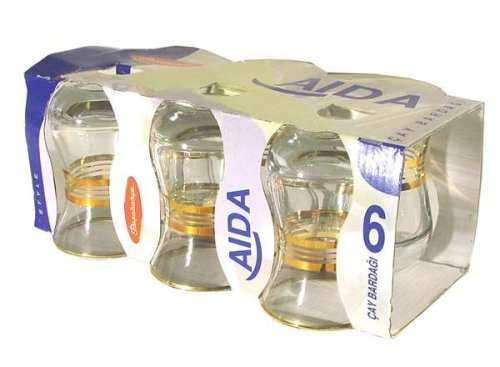 Aida Turkish Tea Glasses With Gold Trim, Set Of 6 Glasses