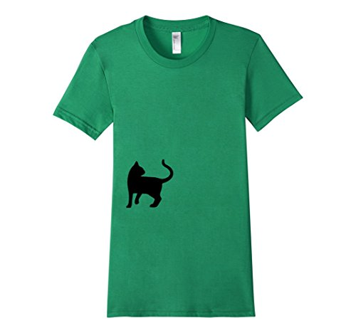 Womens-EmmaSaying-Dont-Look-Back-In-Anger-Cat-Silhouette-T-Shirt-Green