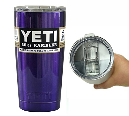 Yeti Coolers 20 oz Rambler Tumbler Cup with Extra Spill Proof Lid - Keeps your drink cold or hot for hours (Purple Metallic)