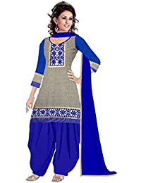 Rensil Women's Cotton Dress Material (R47N1_Grey & Blue)