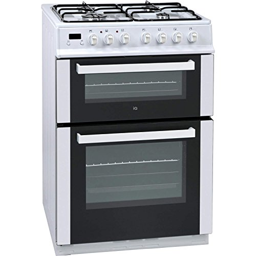 iQ 60cm Double Oven Dual Fuel Cooker - White
