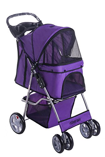 Merax Folding Cat Dog Pet Carrier Stroller Three-wheeled and Four-wheeled (Purple, Four-wheeled)