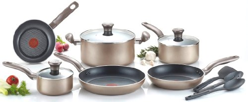 T-fal C067SC64 Metallics Nonstick Thermo-Spot Heat Indicator Dishwasher Safe Oven Safe PFOA Free Cookware Set, 12-Piece, Bronze