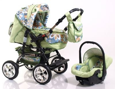 ADBOR Combo Pram Baby Lux + Car Seat No.38 green / flower