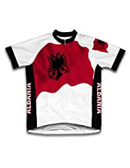 Albania Flag Short Sleeve Cycling Jersey for Women