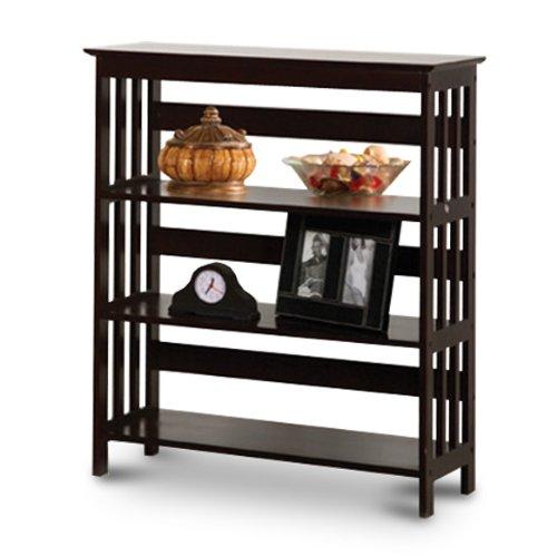 Mission Style Contemporary Cappuccino Espresso Book Shelf / Case Bookcase Bookshelf - Great for Rvs and Boats! Mission Style 5 Shelf Bookcase