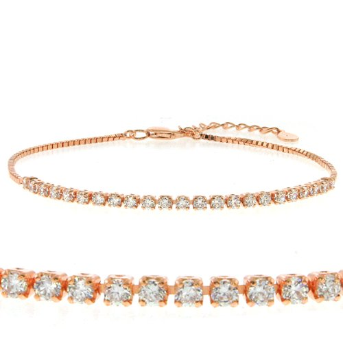 1.36 Carat Cubic Zirconia CZ Rose Gold Color Sterling Silver Bracelet 7""