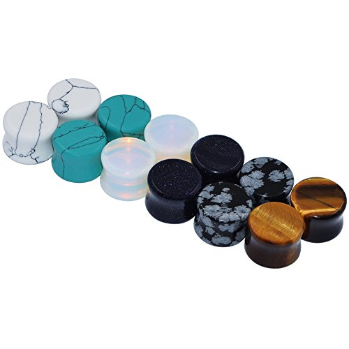 D&M Jewelry 6 Pairs Mixed Stone Ear Plugs Tunnels Saddle Expander Body Piercing Set Gauge 2g (2 Gauge Ear Plugs compare prices)