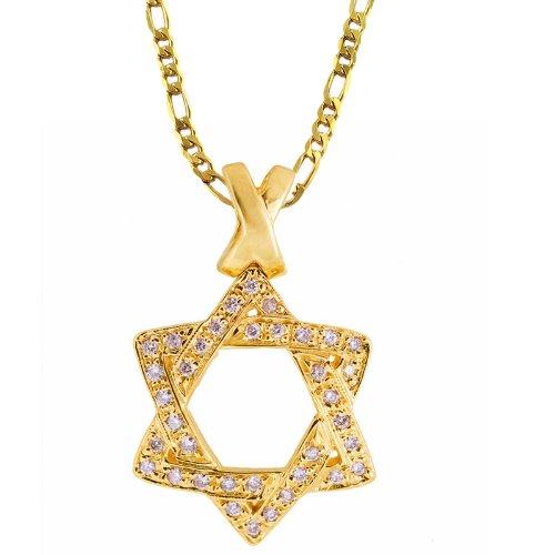 A Gold Vermeil Cz Diamond 'Star of David' Pendant Necklace.