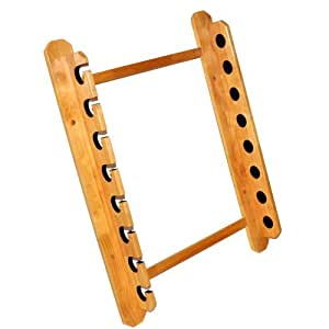 Wood wall mount fly fishing rod rack sports for Fishing rod wall rack