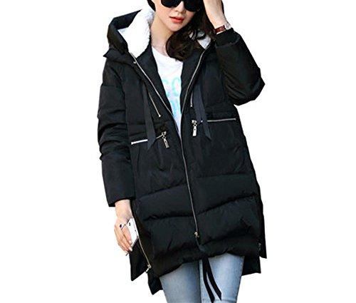 Jack Mall- Fashion Trend inverno nella sezione lunga di cotone Abbigliamento Loose Women ispessimento cotone Abbigliamento donna cappotto i vestiti del cappotto ( colore : Nero , dimensioni : XXL )