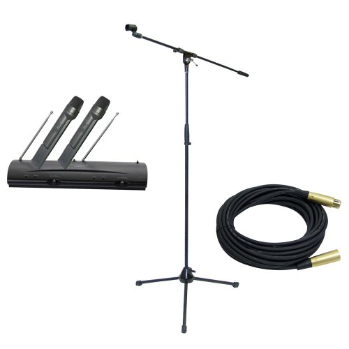 Pyle Mic And Stand Package - Pdwm2100 Professional Dual Vhf Wireless Handheld Microphone System - Pmks2 Tripod Microphone Stand W/Boom - Ppmcl30 30Ft. Symmetric Microphone Cable Xlr Female To Xlr Male